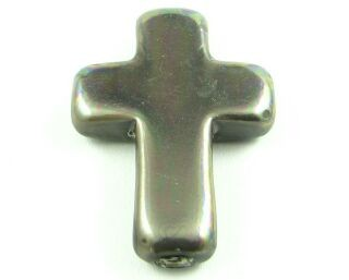 Chinese Glass Based Pearl, Cross, Grey, 30x22mm (1pc)