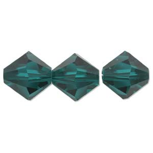 Swarovski Crystal, Bicone, Emerald (4 or 6mm)