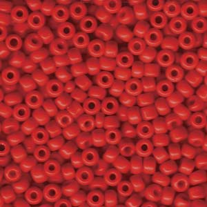 Size 6 Seed Bead, Opaque Red (10gms)