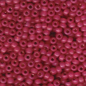 Size 6 Seed Bead, Dyed Dark Rose Silver Lined Alabaster (10gms)