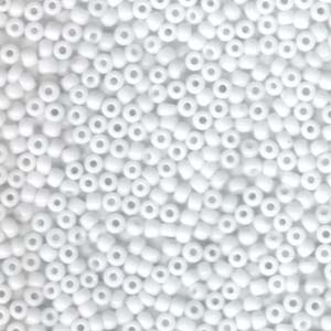 Size 8 Seed Bead, Opaque White (10gms)