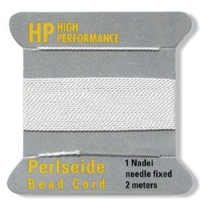 High Performance Bead Cord, White, Size 4, 0.6mm (2m card)
