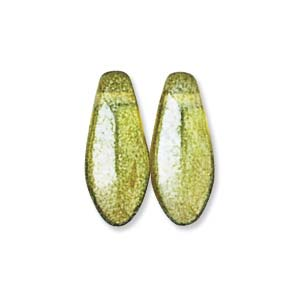 Czech Glass, Dagger Drop, Olivine Shimmer, 5x12mm (10 pcs)