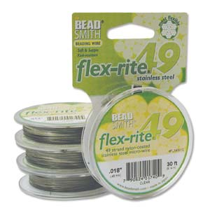 49 Strand Clear Coated Flexrite Beading Wire (0.46mm/0.018inch) - 5m Packet