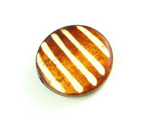 Bone Bead, Coin 01, Brown with White, 20mm (5 pcs)