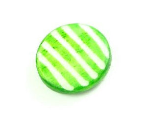 Bone Bead, Coin 03, Green with White, 20mm (5 pcs)