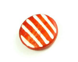 Bone Bead, Coin 04, Orange with White, 20mm (5 pcs)