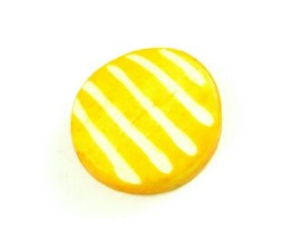 Bone Bead, Coin 07, Yellow with White, 20mm (5 pcs)
