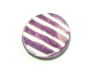 Bone Bead, Coin 08, Purple with White, 20mm (5 pcs)