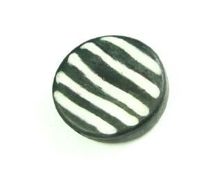 Bone Bead, Coin 09, Black with White, 20mm (5 pcs)