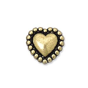 10mm Plastic Metallic Beaded Heart, Gold (10 pcs)