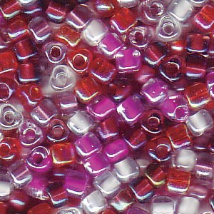 Size 8 Tri Bead Mix, Strawberry Fields (10gms)