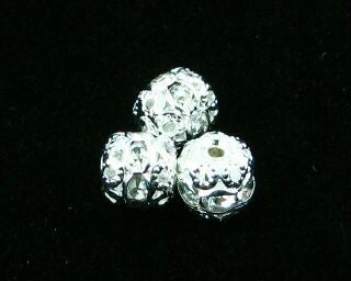 Rhinestone Round, Silver/Crystal, 6mm (5pc)