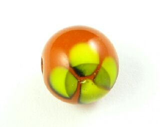 Indonesian Lampwork, Round Flower, Orange/Yellow, 12mm (5 pcs)