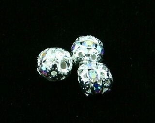 Rhinestone Round, Silver/Crystal AB, 6mm (5pc)