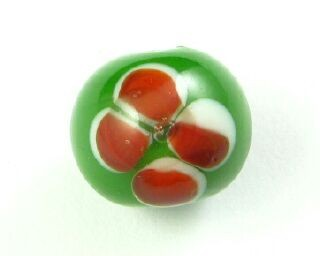 Indonesian Lampwork, Round Flower, Green/Brick Red, 12mm (5 pcs)