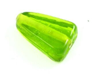 Indian Glass, Plain, Triangle, Olivine, 16x11mm (20gms - 12pcs)