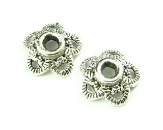 Bead Cap, Ornate, Nickel, 4x10mm (20 pcs)
