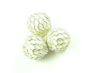 Mesh Covered Pearl, Plastic, White, 9mm (10 pcs)