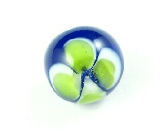 Indonesian Lampwork, Round Flower, Cobalt/Lime, 12mm (5 pcs)
