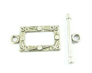 Toggle Clasp, Nickel, Ring:22x12mm/Bar: 23mm (5 sets)
