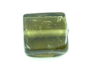 Indian Glass, Plain, Square, Grey, 13mm (20gms - 10pcs)