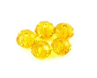 Chinese Crystal, Rondelle, Amber, 4x6mm (20 pcs)