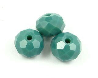 Chinese Crystal, Rondelle, Opaque, Teal, 6x8mm (20 pcs)