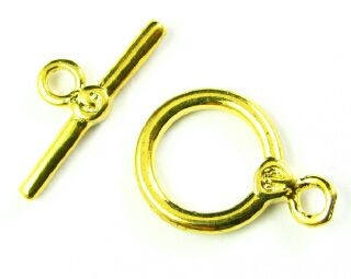 Toggle Clasp, Gold, Ring:17x12mm/Bar: 18mm (5 sets)