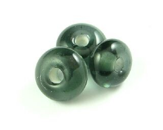 Indonesian Glass, Lampwork, Donut, Black Diamond, 6x11mm (10pcs)