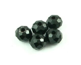 Chinese Crystal, Rondelle, Jet Black, 4x6mm (20 pcs)