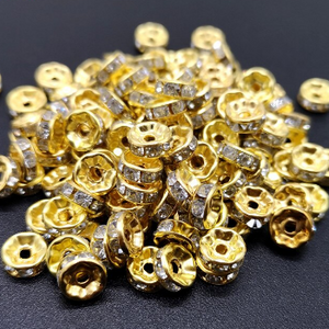 Rhinestone Rondelles, Gold/Crystal (4, 5 & 7mm)