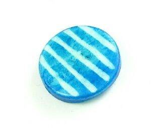 Bone Bead, Coin 06, Aqua with White, 20mm (5 pcs)