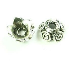 Bead Cap, Ornate, Nickel, 5x10mm (20 pcs)