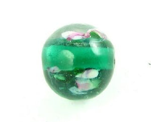 Indian Lampwork, Round Rose Bud, Teal, 11mm (10 pcs)