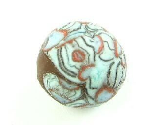 Indonesian Millifiori, Round, Aqua/Brown, 15mm (1pc)
