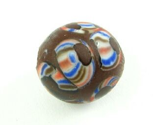 Indonesian Millifiori, Round, Red/Blue/Brown, 15mm (1pc)