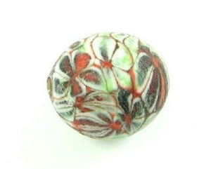 Indonesian Millifiori, Round, Green/Red/Brown, 15mm (1pc)