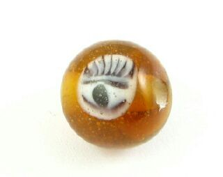 Indonesian Lampwork, Round Eye, Topaz, 10mm (5 pcs)