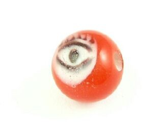 Indonesian Lampwork, Round Eye, Red, 10mm (5 pcs)