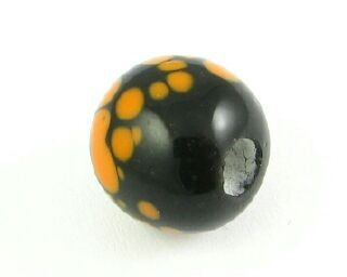 Indonesian Lampwork, Round Spotted, Black/Orange, 10mm (5 pcs)