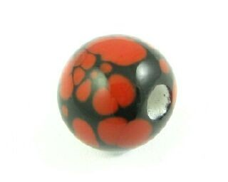 Indonesian Lampwork, Round Spotted, Black/Red, 10mm (1pc)