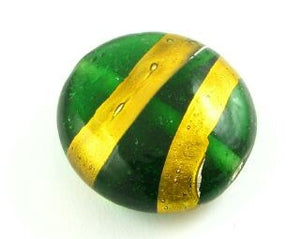 Indian Foil, Coin Gold Stripe, Emerald, 21mm (5 pcs)