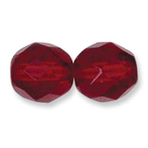 Czech Glass Facet, Garnet, 10mm (10 beads)