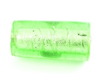 Indian Glass, Silver Foil, Tube, Peridot, 30x16mm (5pcs)