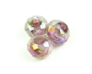 Chinese Crystal Covered Lampwork, Rondelle, Pink Rose, Amethyst, 6x8mm (5 pcs)