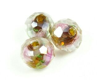 Chinese Crystal Covered Lampwork, Rondelle, Pink Rose, Topaz AB, 8x10mm (5 pcs)