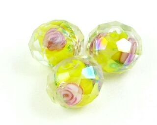 Chinese Crystal Covered Lampwork, Rondelle, Pink Rose, Yellow, 8x11mm (5 pcs)