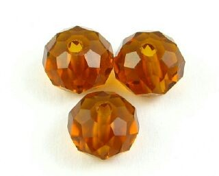 Chinese Crystal, Rondelle, Dark Amber, 6x8mm (20 pcs)