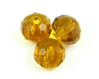 Chinese Crystal, Rondelle, Amber, 6x8mm (20 pcs)